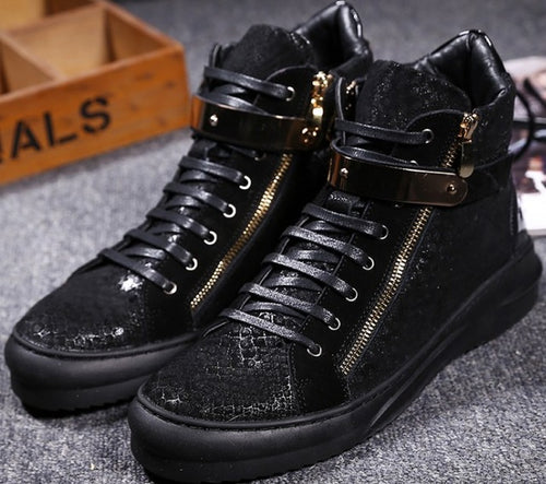 Snake Pattern Metal Buckle High tops