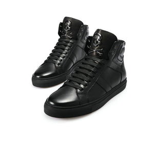Skull Lace Luxury Brand 100% Leather High Tops