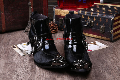 High Heels Pointed Toe Studded Cowboy Boots