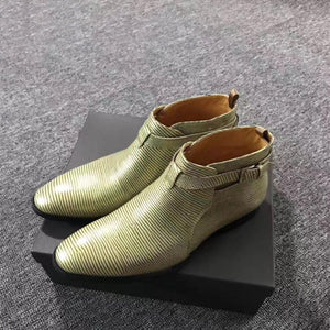 Buckle Embossed Genuine Leather Lizard Pattern Ankle Boots