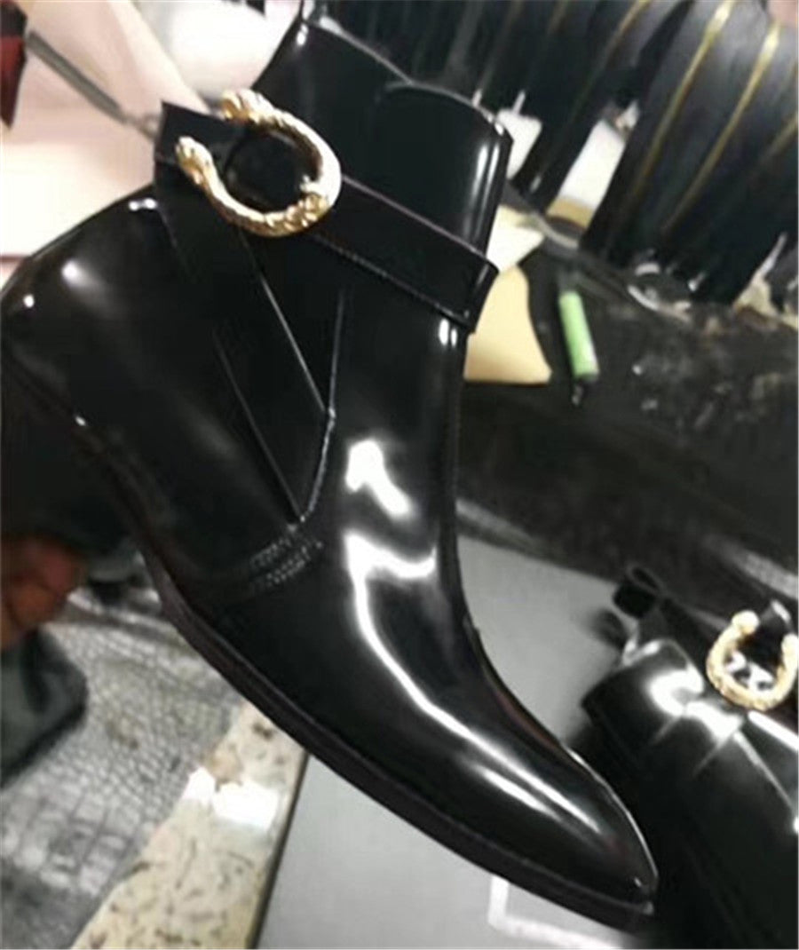 Skull Rivet Buckle Strap Patent Leather Luxury Boots