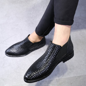 Weave Pattern PU Leather Boots