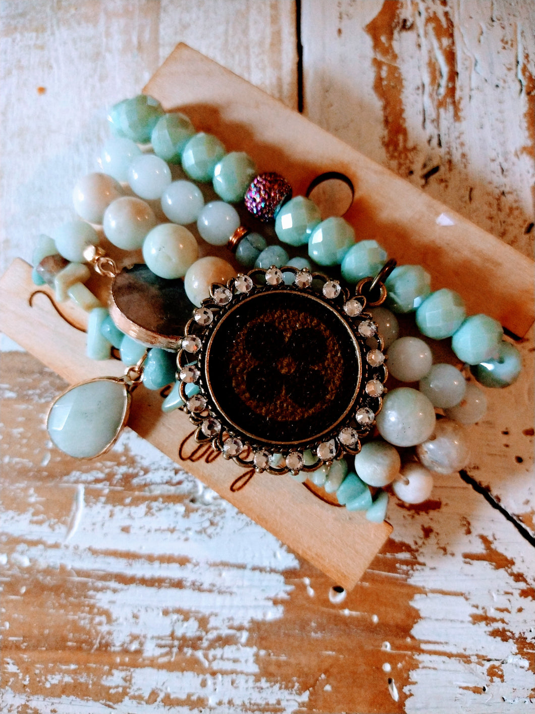 Light Turquoise and Cream Stone LV Bracelet