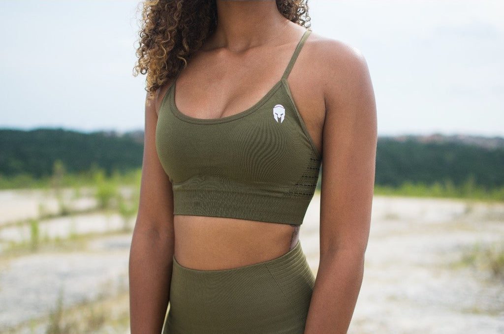 Seamless Embrace Sports Bra - Olive