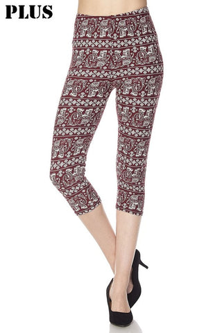 73e9274adbb348 PLUS SIZE Elephant Print Yummy Brushed Capri Leggings