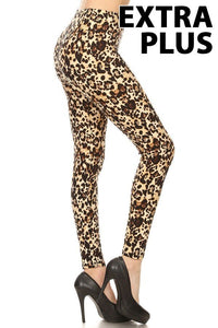 afbe9f11506ae 3X4X BROWN LEOPARD PRINT Brushed Ankle PLUS SIZE Leggings