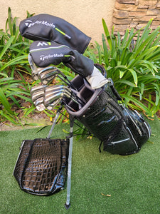 Complete Golf Set, TaylorMade M1 Woods, M1 Irons + Ghost Putter & New Green Ouul Stand Bag ,Excellent!