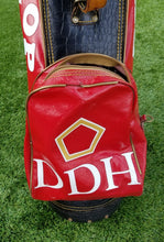 ANTIQUE DUNLOP DDH RED/BLACK FAUX LEATHER 3 WAY DIVIDER GOLF BAG VINTAGE,NICE!!