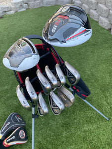Left Handed Men's Complete Golf Set, TaylorMade Driver, TaylorMade 3 Wood, Callaway 4-AW Irons, Titleist Wedge, Odyssey Putter