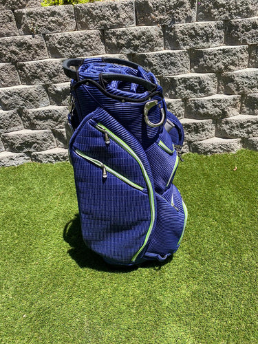 Ouul Navy Ribbed 15 Way Cart Bag With Padded Nylon Body- New!