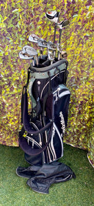 Complete Golf Set, TaylorMade Woods, TaylorMade Irons, TaylorMade Putter, Titleist Wedge, TaylorMade 6 Way Stand Bag..In Good Condition!!!!