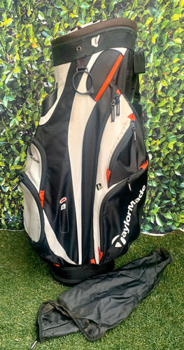 TaylorMade San Clemente 14 Way Cart Bag, White/Black/Red, Rain Cover Included.... Good Condition!!