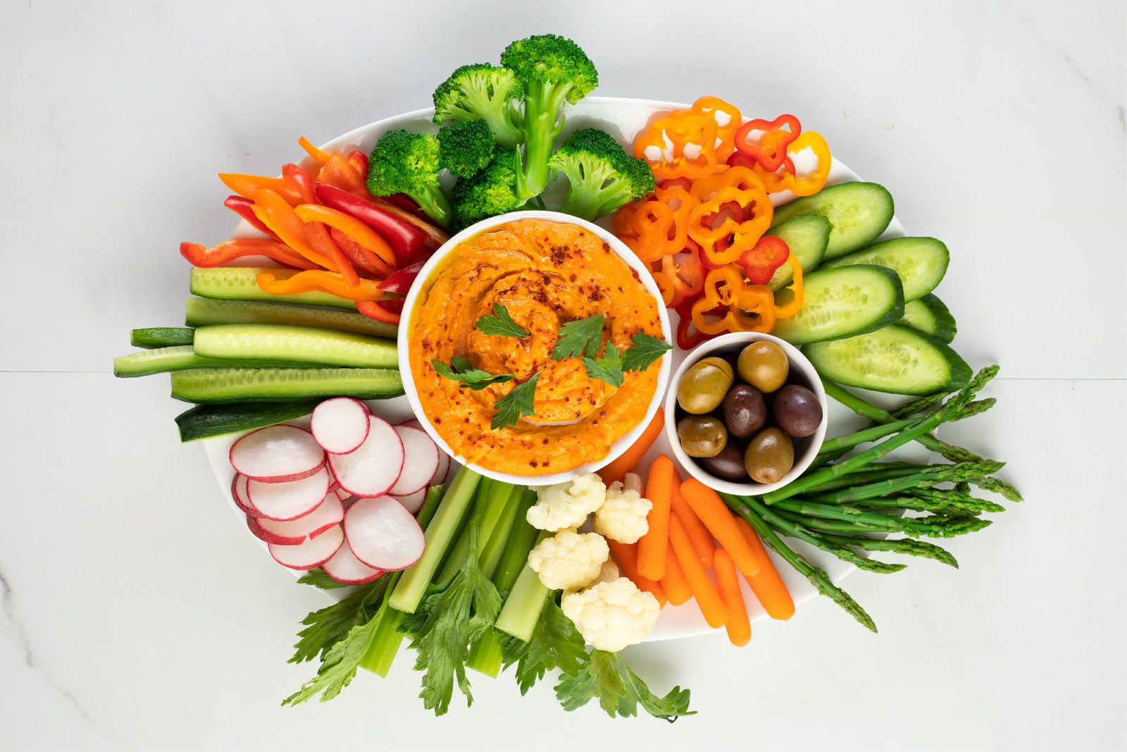 Veggie Platter with Cashew and Piquillo Pepper Dip