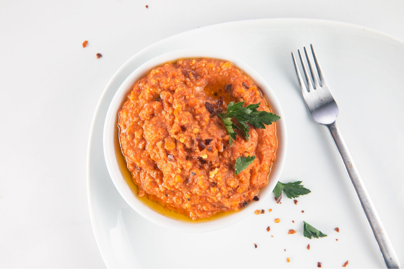 Roasted Peppers, Walnut, and Fava Beans Dip