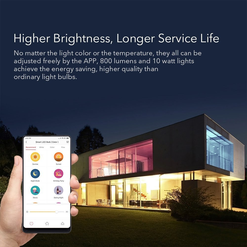 Xiaomi Yeelight Smart LED Bulb White and Colorful 800 Lumens 10W E27