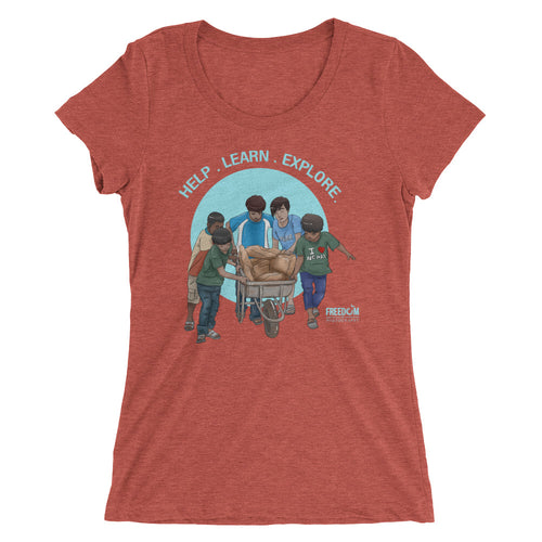 Ladies' Nepalese Boys With Wheelbarrow Short Sleeve T-shirt (Light)