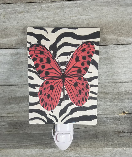 Animal print with red butterfly light