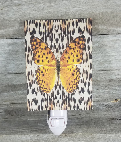 Animal print with yellow butterfly light