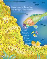 Pepper The Parrotfish interior page of a children's book about a parrotfish.