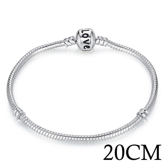 5 Style Silver Color LOVE Snake Chain Bracelet & Bangle 16CM-21CM