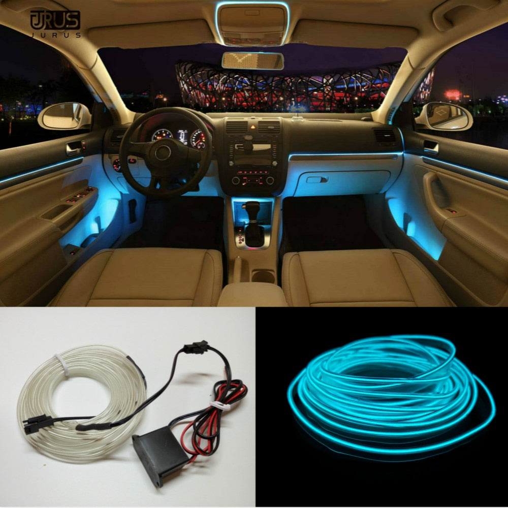 5M 10 Colors Car Styling DIY Cold Line Flexible Interior Decoration For Motorcycle and Cars