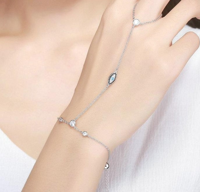 New Arrival Authentic 925 Sterling Silver Double Layer Magic Of Blue Eye Bracelets for Women Luxury Jewelry