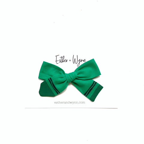 Hand Painted Green Crayon Fabric Bow PREORDER 4 week turn around