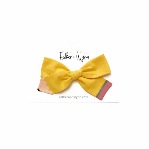 Hand Painted Pencil Fabric Bow PREORDER 4 week turn around