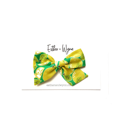 Lemon Print Pinwheel Fabric Bow