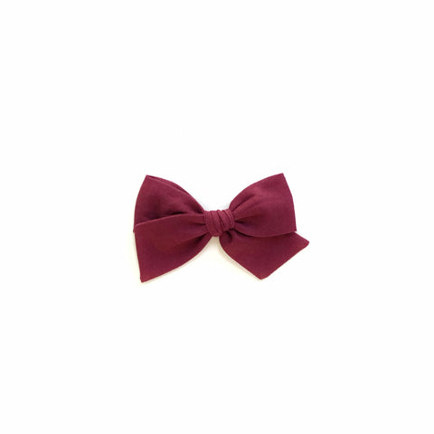 Wine Solid Pinwheel Fabric Bow