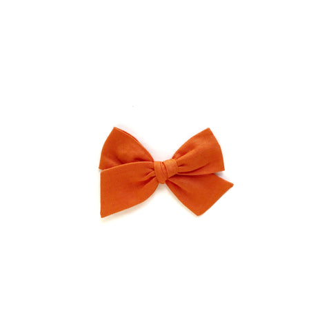 Pumpkin Orange Solid Pinwheel Fabric Bow