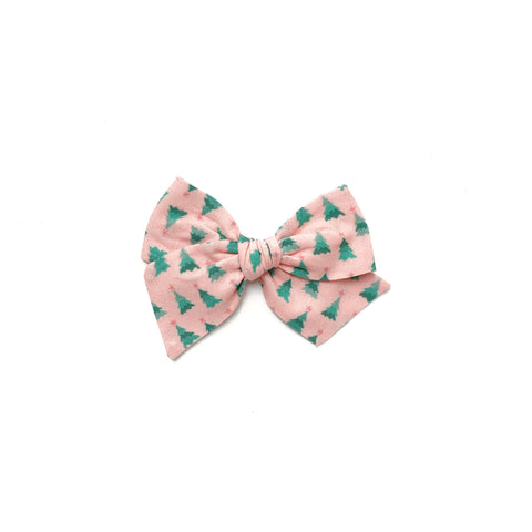 Pink Tree Print Pinwheel Fabric Bow