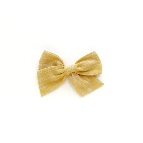 Yellow Yarn Dyed Pinwheel Fabric Bow