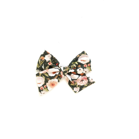 Black Floral Pinwheel Fabric Bow