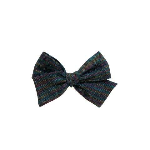Black Metallic Rainbow Linen Pinwheel Bow