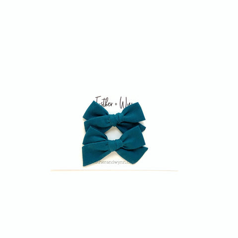 Solid Prussian Blue Mini Pigtail Bow Set