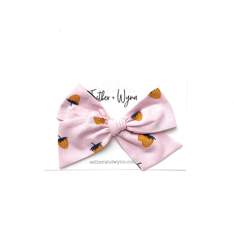 Pink Strawberry Print Pinwheel Fabric Bow
