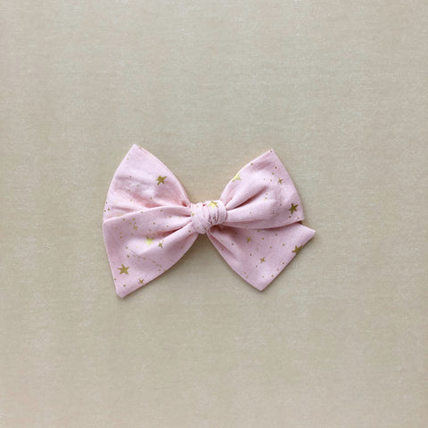 Pink and Gold Star Pinwheel Fabric Bow