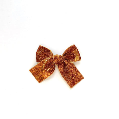 Orange Glitter Velvet Hand Tied Bow