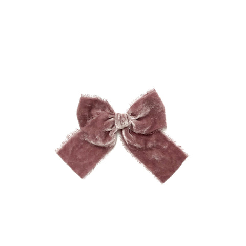Mauve Raw Edge Velvet Hand Tied Bow