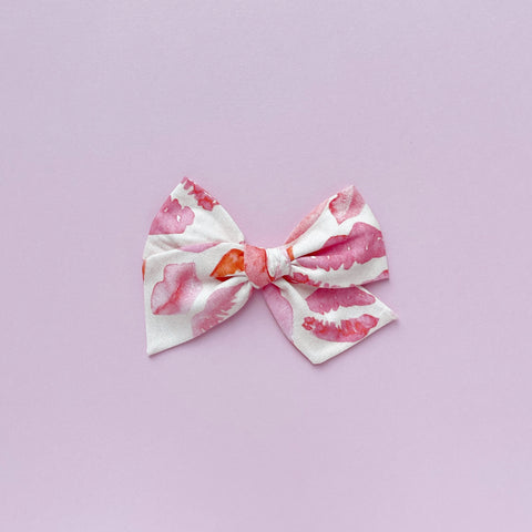 Red and Pink Kisses Pinwheel Fabric Bow
