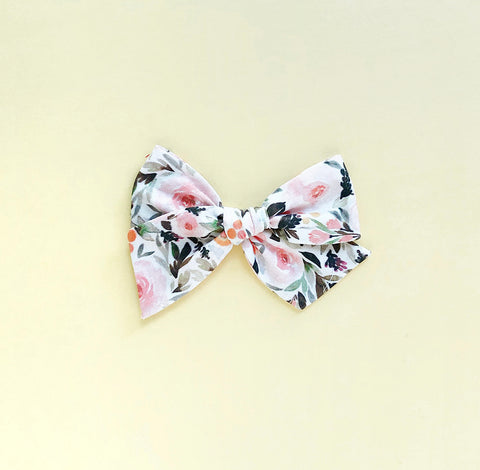 Fall Floral Pinwheel Fabric Bow