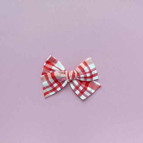 Pink and Red Plaid Pinwheel Fabric Bow