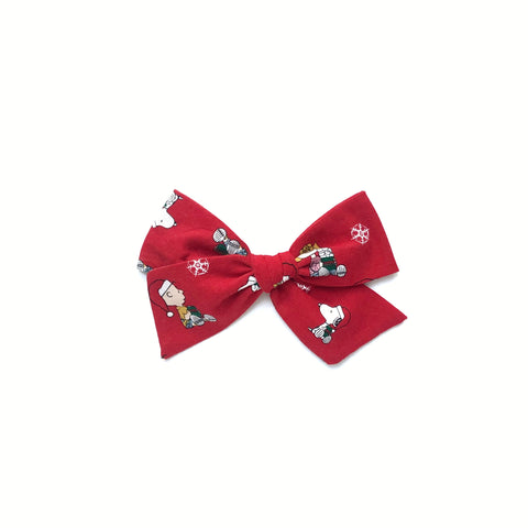 Charlie Brown Christmas Print Pinwheel Fabric Bow