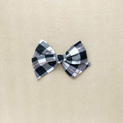 Black and White Plaid with Rose Gold Pinwheel Fabric Bow