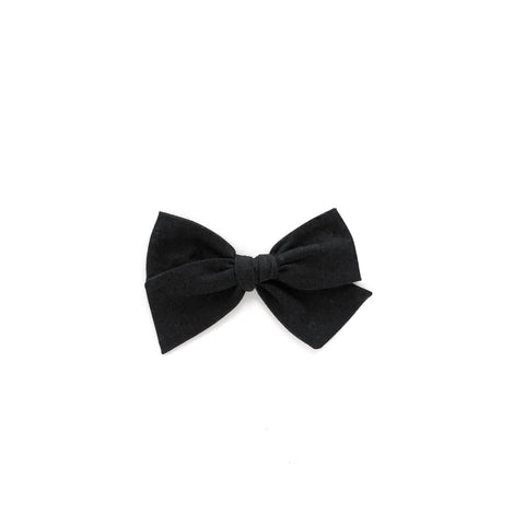 Black Solid Pinwheel Fabric Bow