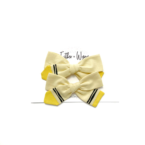 Hand Painted Yellow Crayon Pigtail Bow Set PREORDER 4 week turn around