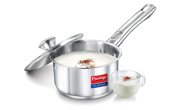Prestige Platina Induction Base Stainless Steel Sauce Pan, 200mm/3 litres