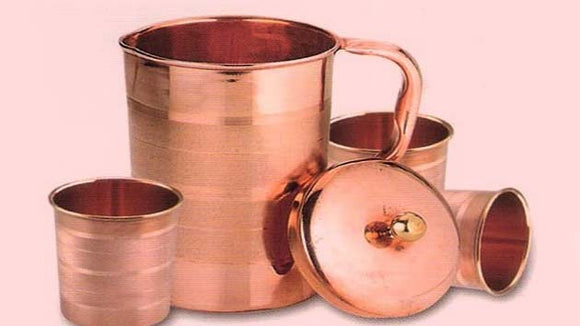 Copper 6 Glass + 1 Copper Jug