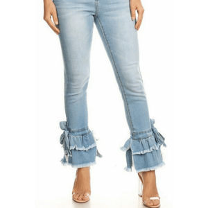 Ruffle Me Denim Jeans - Strait Laced Boutique